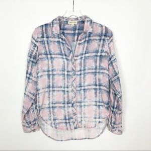 Cloth and Stone Pink and Blue Button Down Shirt S